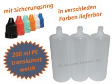 200 ml Tropf-Flasche - PE Q - Farben frei wählbar