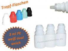 3 ml Flasche PE Schraubverschluß weiß oval