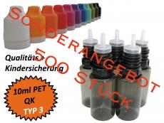 10 ml Tropf-Flasche - PET - QK TYP3 - schwarz - Sonderangebot VPE 500 Stück