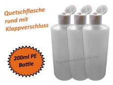 Rundflasche HDPE 200ml mit Klappschanierverschluss Din18