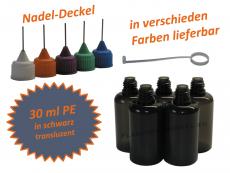 30 ml PE Nadelflaschen in schwarz transluzent