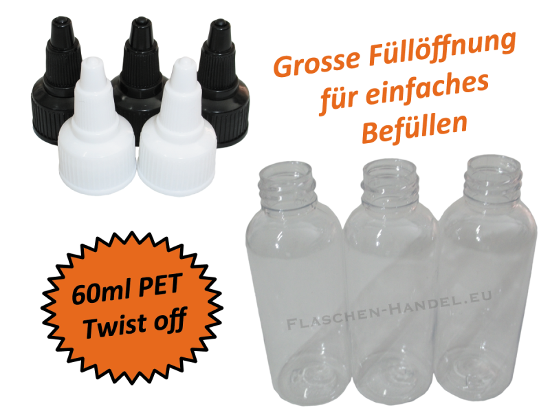 60ml liquidflasche pet twist off deckel. Black Bedroom Furniture Sets. Home Design Ideas