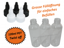 120ml Liquidflasche PET - twist off Deckel