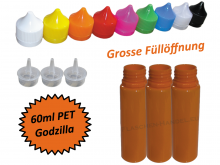 60ml Godzilla PET Kunststoffflasche in orange V2