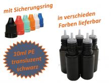 10 ml Tropf-Flasche schwarz - PE Q - slim - Farben frei wählbar