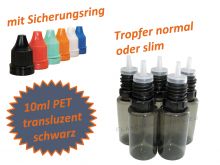 10 ml Tropf-Flasche schwarz - PET Q - slim- Farben frei wählbar