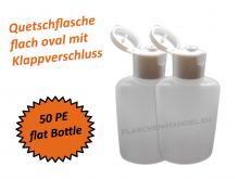 Oval Flasche HDPE 50ml mit Klappschanierverschluss Din18