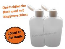 Oval Flasche HDPE 100ml mit Klappschanierverschluss Din18