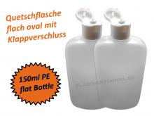 Ovalflasche HDPE 150ml mit Klappschanierverschluss Din18