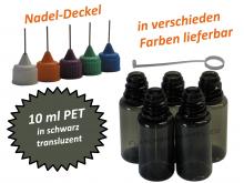 10 ml PET Nadelflaschen in schwarz (transluzent)