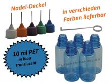 10 ml PET Nadelflaschen in blau (transluzent)
